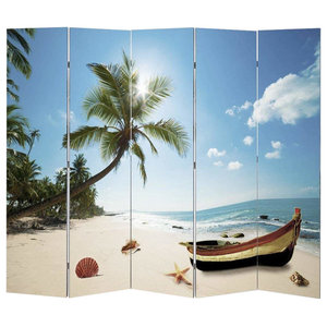 Modern Folding Room Divider With MDF Frame, Double Sided Beach Print Design