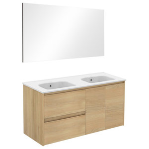 Ambra 120 Double Complete Vanity Unit, Nordic Oak, With Mirror