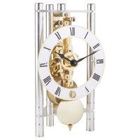 Lakin Triangular Table Clock, Silver Roman Metal, Brass
