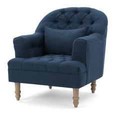 GDF Studio Kimberly Fabric Tufted Club Chair, Dark Blue