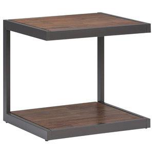 Erina Rustic Acacia Wood End Table With Metal Frame