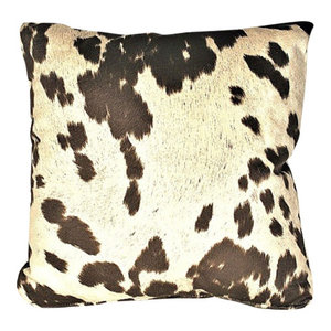 Cowhide Brown Animal Fur Decorative Throw Pillow, 18