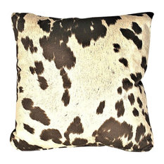 "Cowhide Brown Animal Fur Decorative Throw Pillow, 21""x21"""