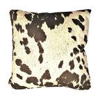 "Cowhide Brown Animal Fur Decorative Throw Pillow, 21""x21"""