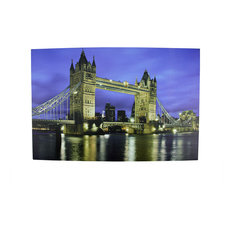 Battery Operated 6 LED London Bridge Scene Canvas Wall Hanging, 23.5""