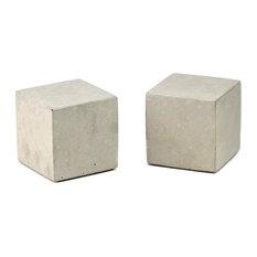 Modern Concrete Bookends, Cube, Natural Concrete