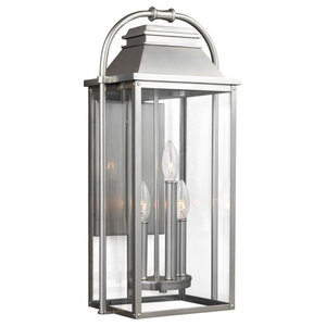 Wellsworth 3-Light Outdoor Wall Lantern, Painted Brushed Steel, Clear Glass