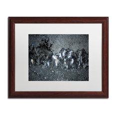 "Kurt Shaffer 'Window Frost at Night 1' Art, Wood Frame, White Matte, 20""x16"""