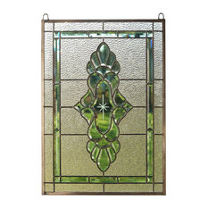 "Tiffany Style stained glass Beveled window panel 19"" x 27"""