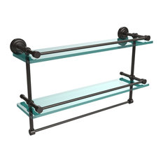 """22"""" Gallery Double Glass Shelf With Towel Bar, Oil Rubbed Bronze"""