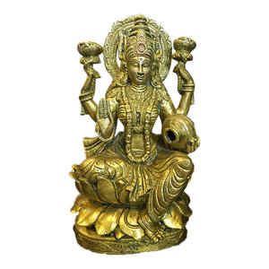 Mogul Interior - Goddess Lakshmi Brass Statue Hindu Idol Temple Decor Puja Gifts Indian Art - Decorative Objects And Figurines