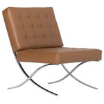 Studio Designs - Studio Designs Home Atrium Bonded Leather Barcelona Chair, Caramel - Description: