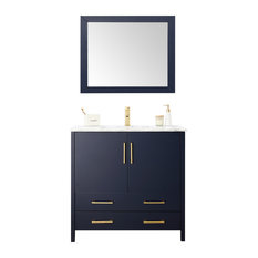 """Solid Wood Lacquer Vanity With Mirror & Gold Handles, 36"""""""