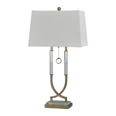 Acrylic Table Lamp, Antique Brass, White Shade