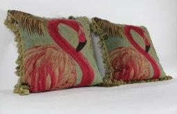 Flamingo Aubusson Wool Pillow
