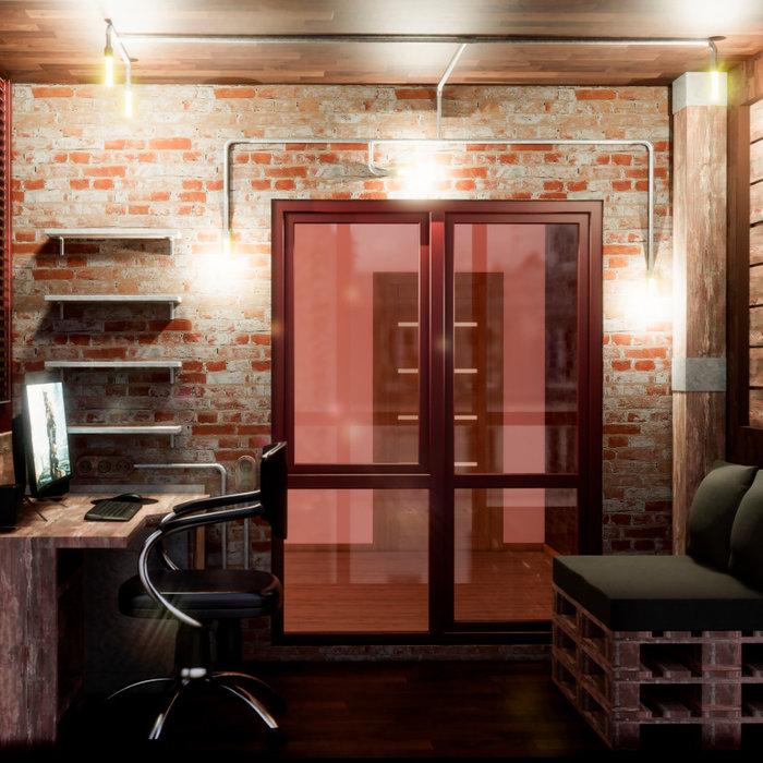 Балкон-кабинет в стиле лофт, Электросталь