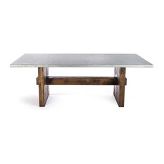 Kingston Krafts   The Redford Rustic Trestle Zinc Top Dining Table,  72x37x30   Dining Tables