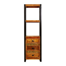 Urban Iron Framed Alcove Bookcase With Drawers