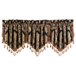 Five Queens Court - Five Queens Court Reilly Window Ascot Valance - Create a custom look on your window with this elegant ascot valance made of the same woven chenille damask as the panels. These are trimmed with a crystal tassel fringe. In order to achieve the look in the photo, we suggest using three valances.      Rod Pocket Valance   100% Polyester