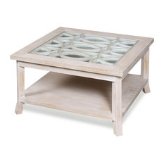 Raelynn Coffee Table Table Top Design Inset Over Clear Glass Washed White
