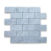 "12""x12"" Carrara White Grand Brick Subway Mosaic Tile Honed, Chip Size: 2""x4"""