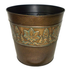 Vibrant Leaves Metal Planter, 8""