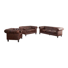 Abbyson Living - Grand Chesterfield 3-Piece Set, Brown - Living Room Furniture Sets