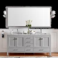 "Eviva London Double Sink Bathroom Vanity, Gray, 60"""