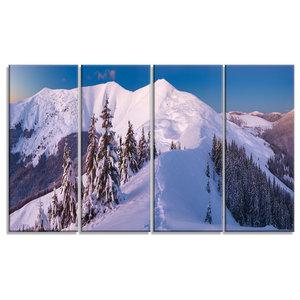"""Frosty Winter Carpathians View"" Metal Wall Art, 4 Panels, 48""x28"""