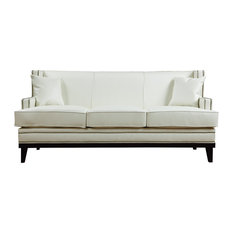 Divano Roma Furniture   Leather Sofa With Nailhead Trim, White   Sofas