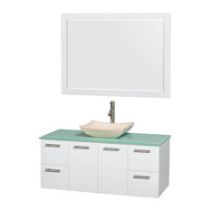 "Amare 48"" Glossy White Vanity, 46"" Mirror, Avalon Ivory Marble, Green Glass"
