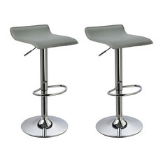 MOD - Ray Faux Leather Adjustable Bar Stools, Set of 2, Gray - Bar Stools and Counter Stools