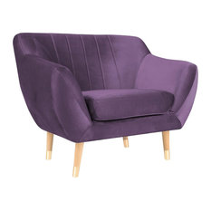 Levi Armchair With Gold Feet, Violet