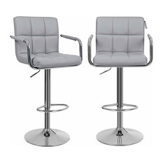 Modern Set of 2 Bar Stools, Faux Leather With Chrome Plated Frame, Grey