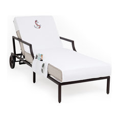 Anchor Embroidered Standard Size Chaise Lounge Cover With Side Pockets, White