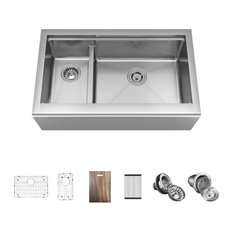 407R-LEDGE-ENS Double Bowl Stainless Steel Apron Workstation Sink Ensemble