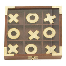 "GwG Outlet - Wooden Brass Tic Tac Toe Game, 7""x1"" - Board Games and Card Games"