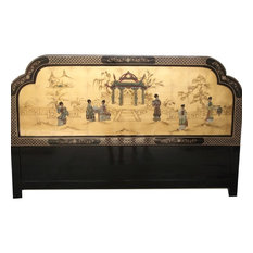 Gold Leaf Oriental Head Board With Mother of Pearl Pagoda Scene, 74""