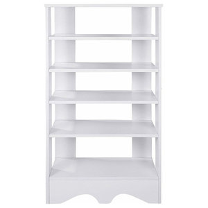 Free Standing Shoe Storage Rack, White Finished MDF With 5 Open Shelves