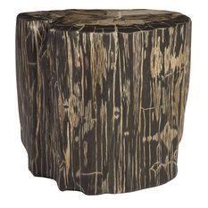 Cast Petrified Wood Stool - Brown, Gray, Round Top