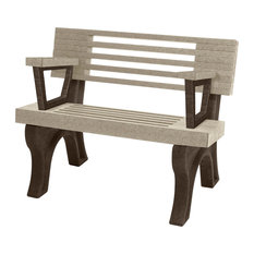 Bench, Cambridge w/Back, with Armrests, 4', Brown Legs, Sand
