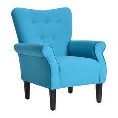 High Wingback Linen Armchair, Mallard Teal