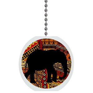 White African Elephant Tribal Ceiling Fan and Light Pull Chain