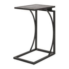 Natalia Modern Industrial C-Shaped End Table Gray + Pewter