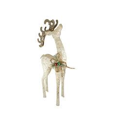 "Lighted Sparkling Sisal White Reindeer Christmas Yard Art Decoration, 46"""