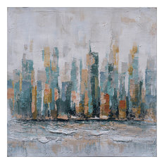 City by the Sea- Decor in Abstract Paintings, Modern Hand Painted Canvas Art