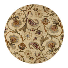 Fairfield Transitional Floral Beige Round Area Rug, 8' Round