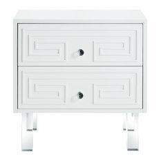 Shirin Greek Key Lacquer-Finish Lucite Leg Side Table, White