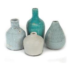 "Set of 4, 7H, 5.25"", 5"" & 4H Terra Cotta Vases"