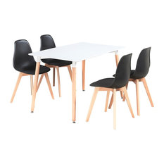 Rico Dining Table Set With 4 Chairs, White and Black